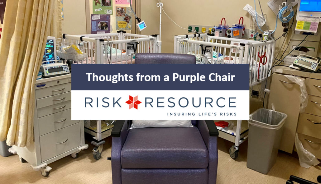 purple chair in the NICU, Risk Resource article title